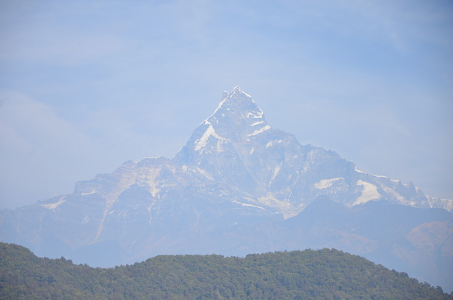 Machapuchare (6,997 m), from 32 km distance, from the south (Pokhara)